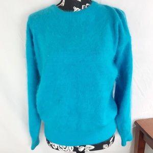 Vintage angora sweater in bright blue sz S